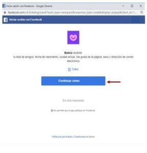 crear cuenta badoo facebook continuar