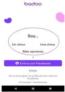 crear cuenta badoo app indicar sexo