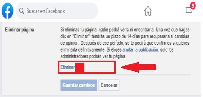 ¿Cómo eliminar página de Facebook?