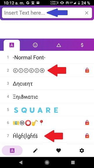pantalla de selección de letra en app para android