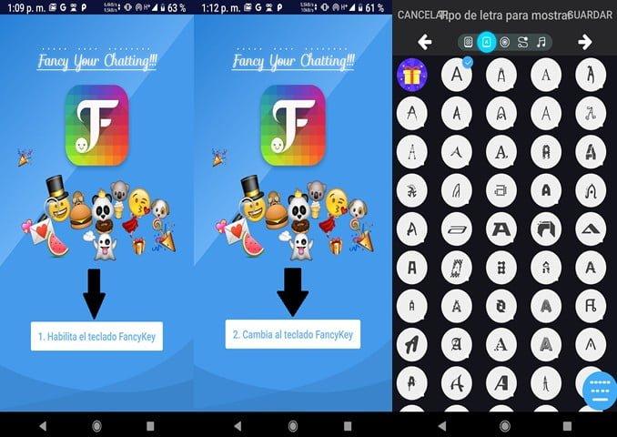 Pantallas para ingresar a FancyKey para Android y/o iOS