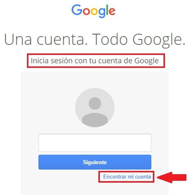 Recuperar cuenta en Google