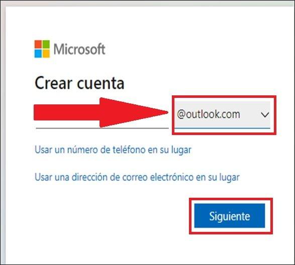 Crear cuenta en Hotmail